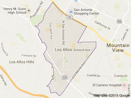 Map of North Los Altos neighborhood of Los Altos, Silicon Valley California