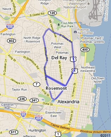 Map of Del Ray & Rosemont in Alexandria, Virginia