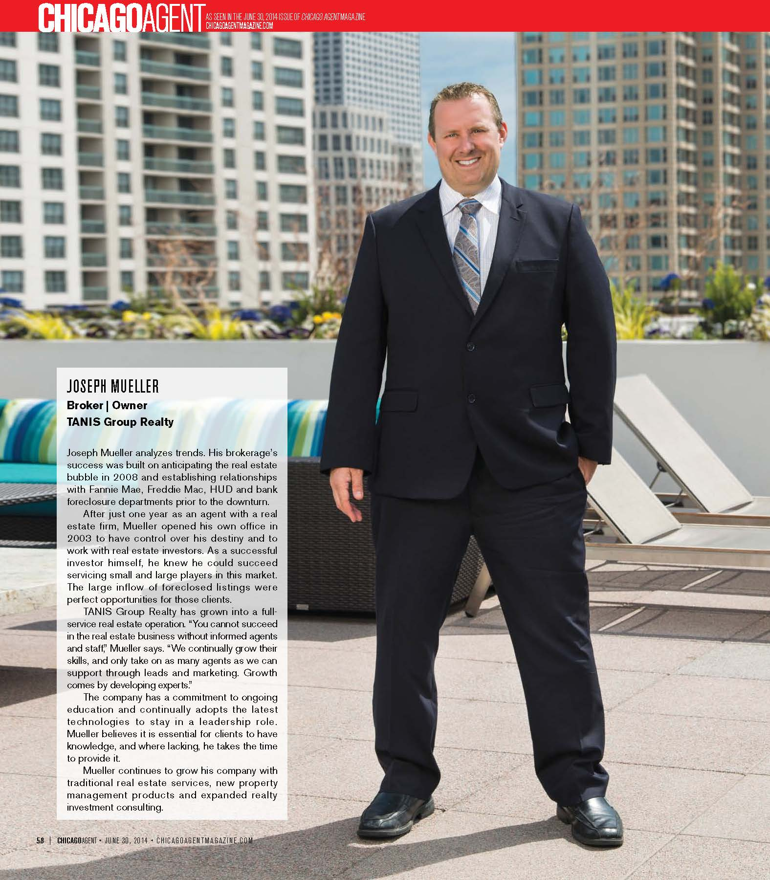 Joesph Mueller, Tanis Group Realty Featured Broker in Chicago Agent Magazine's Who's Who list