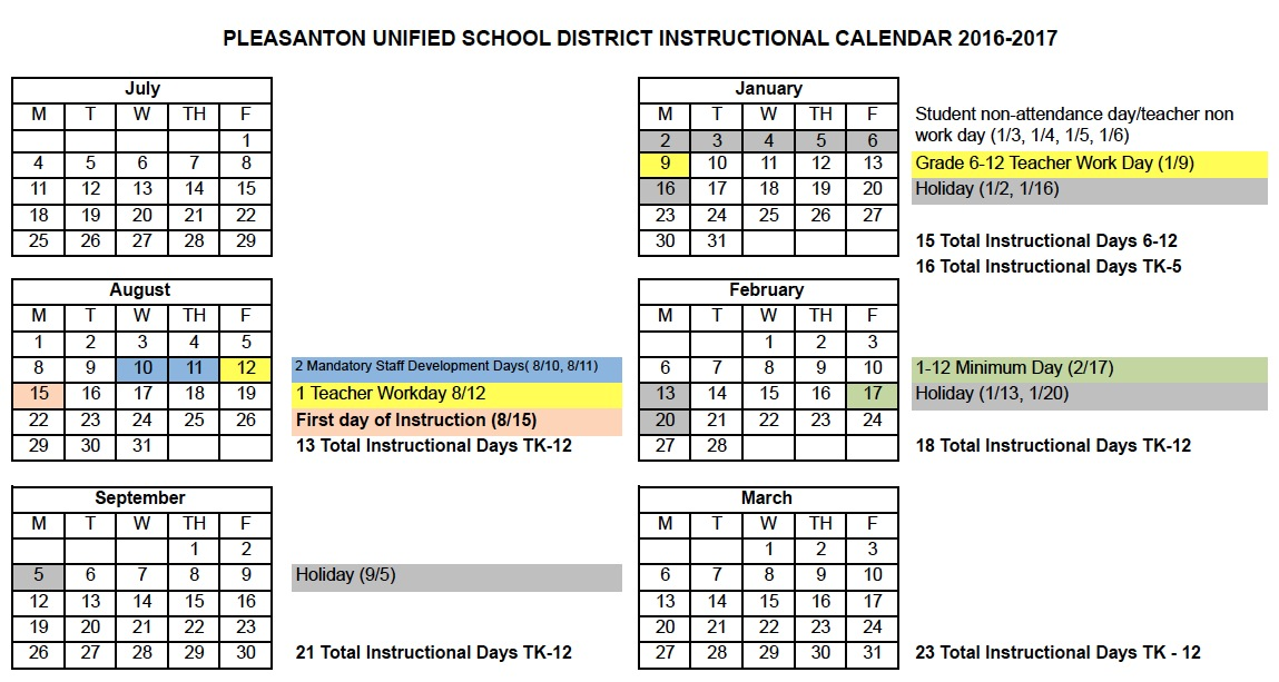 Pleasanton California School District Calendar