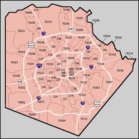San Antonio Area Zipcode Map