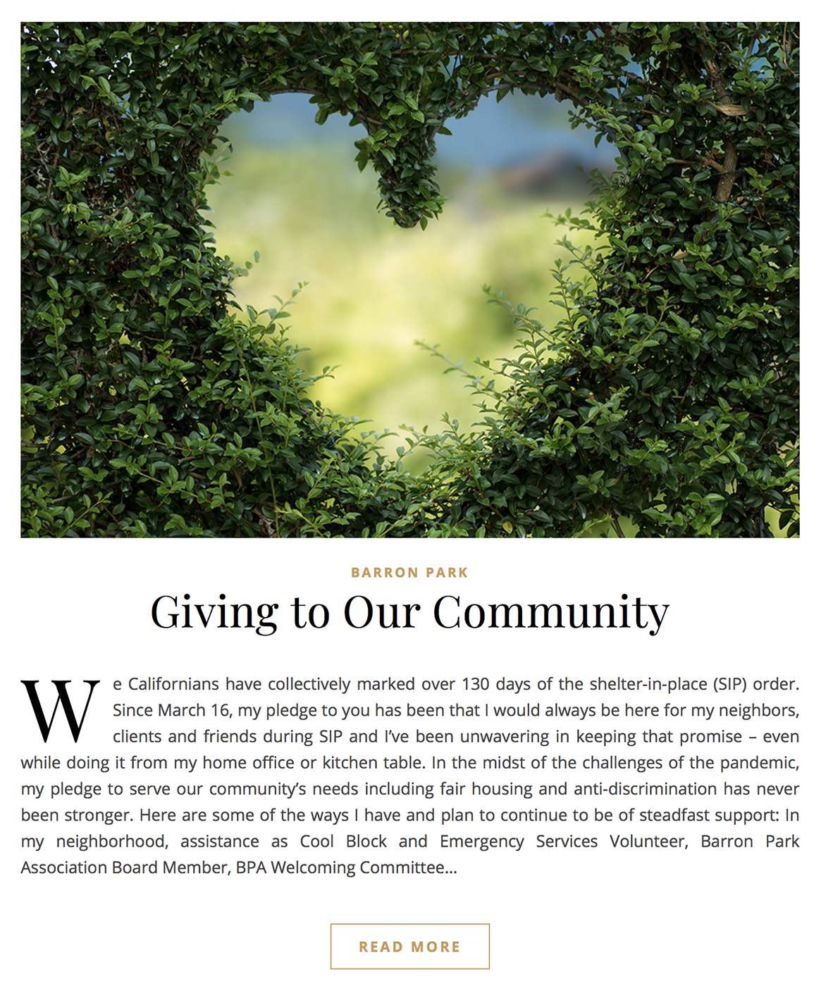 Giving to Our Community