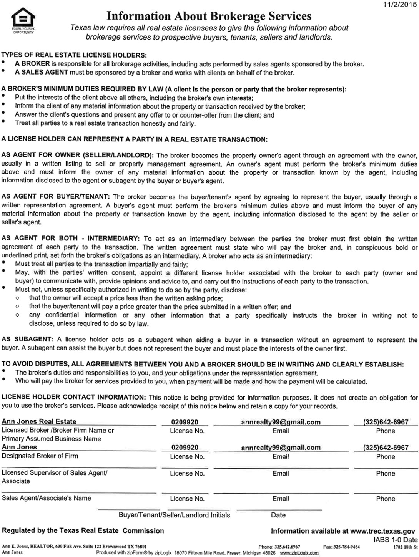 Information About Brokerage Service