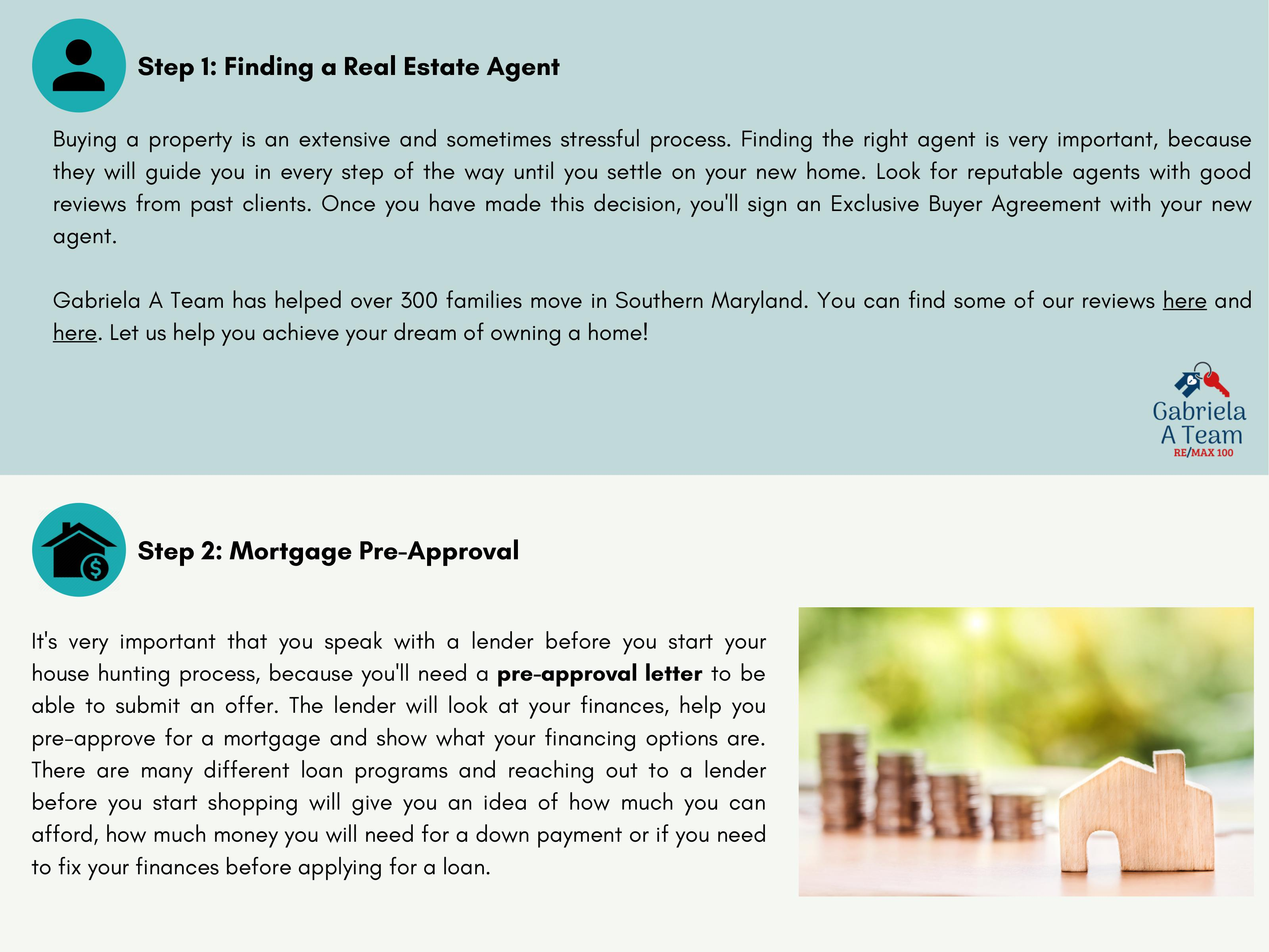 4th slide of home buying guide steps 1 and 2