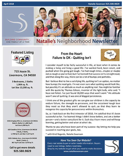 NL April 2018 Newsletter