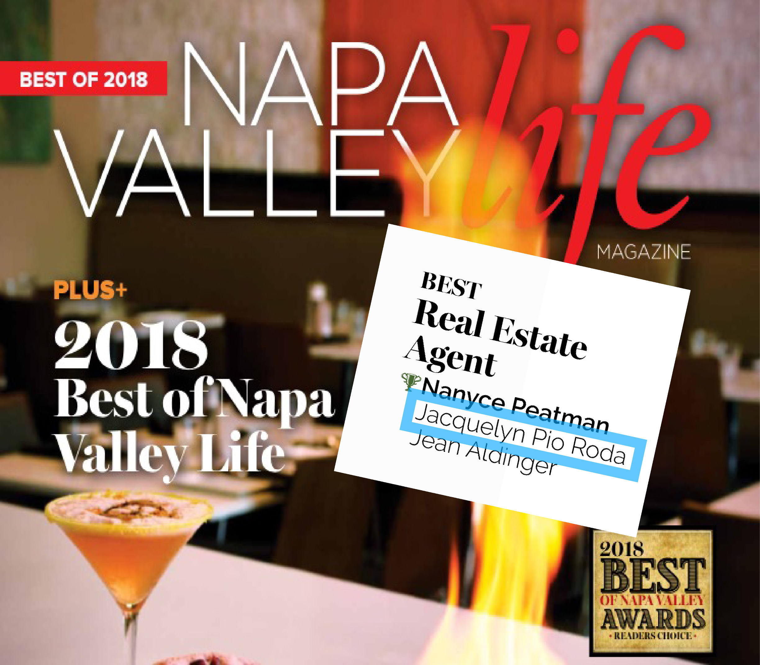 Jacquelyn A. Pio Roda was voted by Readers of Napa Valley Life Magazine as the Best Real Estate Agent in 2018.
